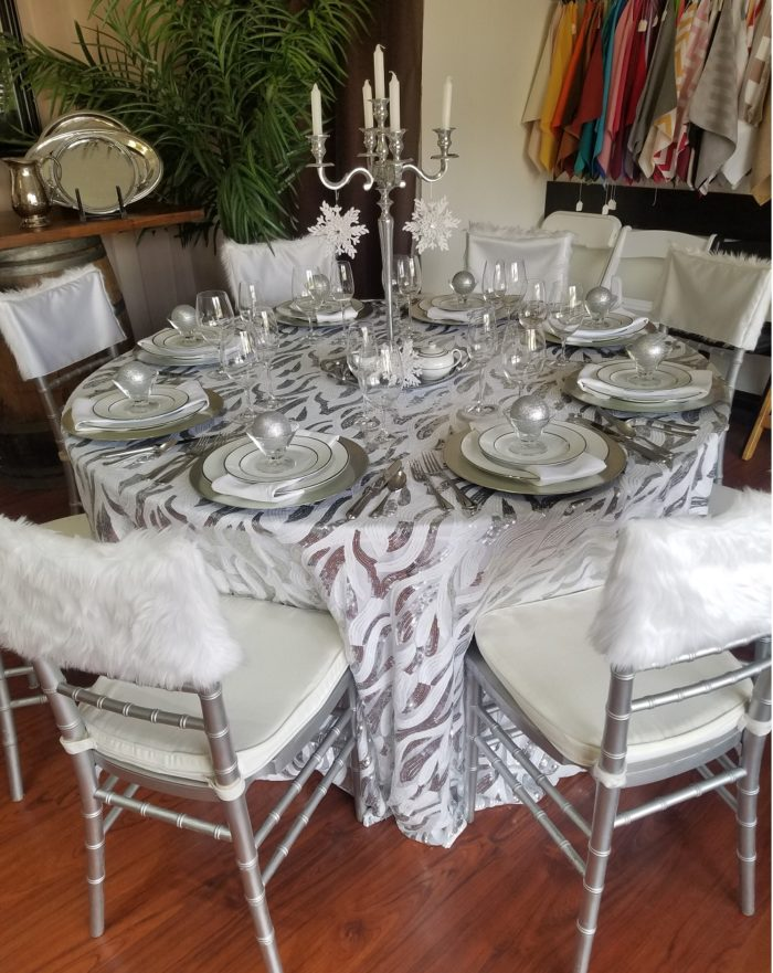 White and Silver Jazz Sequin Table Linen, White and Silver Sequin Swirl Table Cloth