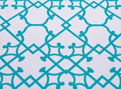 Aqua Versailles Table Linen, Blue Pattern Table Cloth