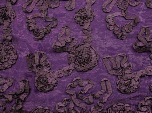 Aubergine Luxury Organza Table Linen, Purple Floral Table Cloth, Purple Sheer Linen