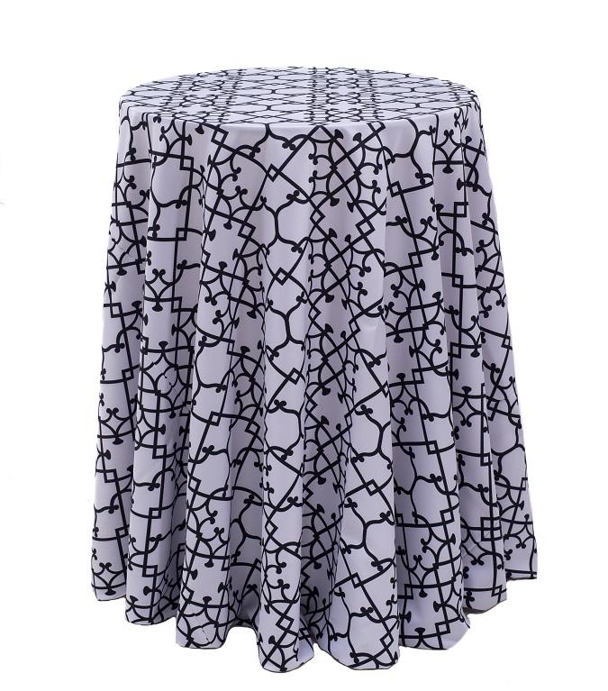Black & White Versailles Table Linen, Black Pattern Table Cloth