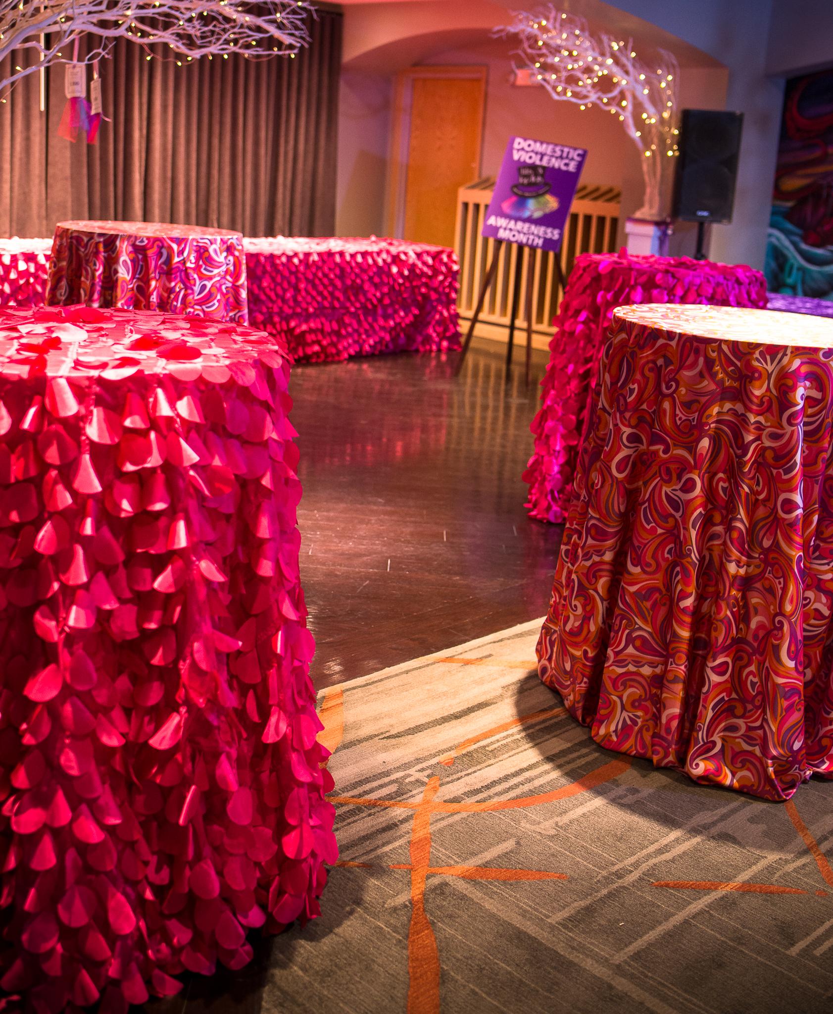 Pink & Orange Pucci Table Linen, Watermelon Petal Taffeta Table Linen, High Cocktail Tables