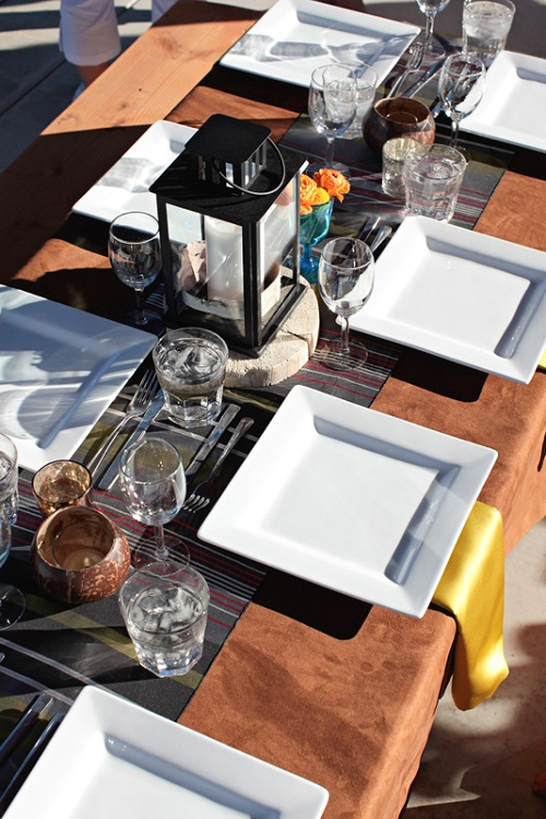 Tan Suede Table Cloth, Bohemian Stripe Runner, Citron Lamour Napkin