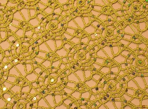 Gold Metallic Lace Table Cloth