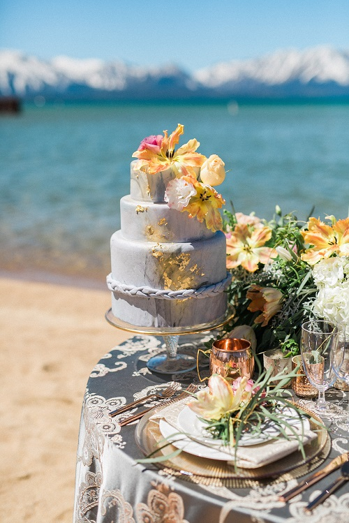 Misty Blue Palazzo Table Linen, Lake Tahoe Wedding