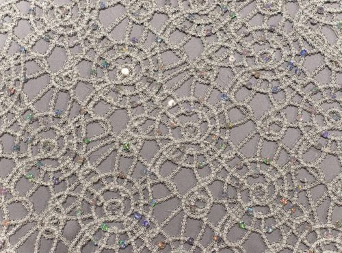 Silver Metallic Lace Table Linen
