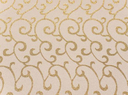 White and Gold Metallic Swirl Table Linen
