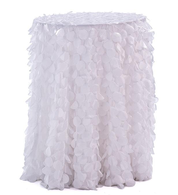 White Petal Taffeta Table Linen, White Paillette Table Linen