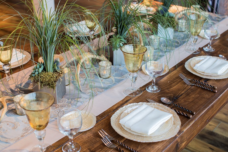 Misty Blue Palazzo Table Linen, White Dupioni Wide Runner, Rustic Table Setting