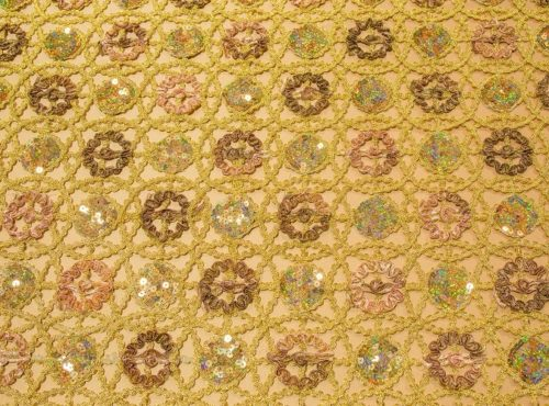 Embellished Metallic Lace Linen, Gold Lace Overlay