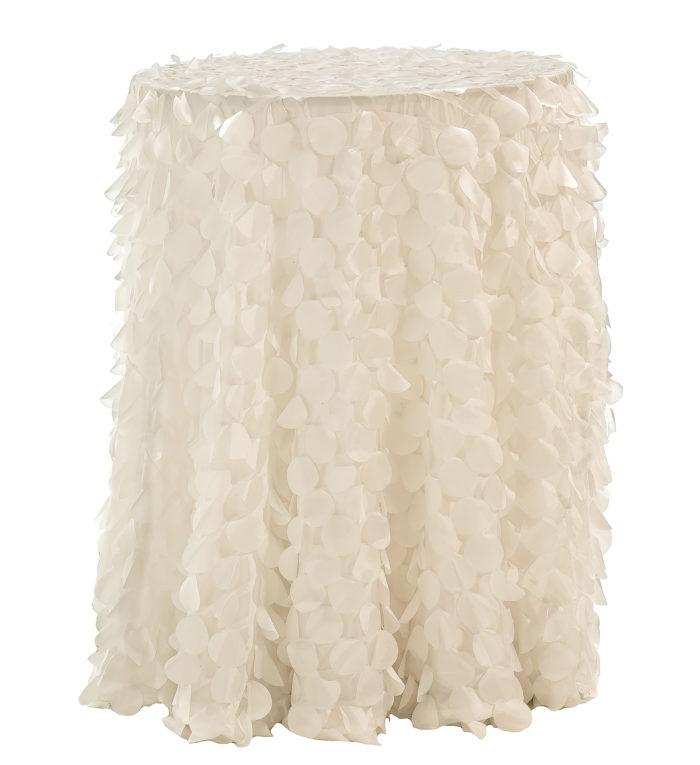 Ivory Petal Taffeta Table Linen, Ivory Pailette Table Cloth