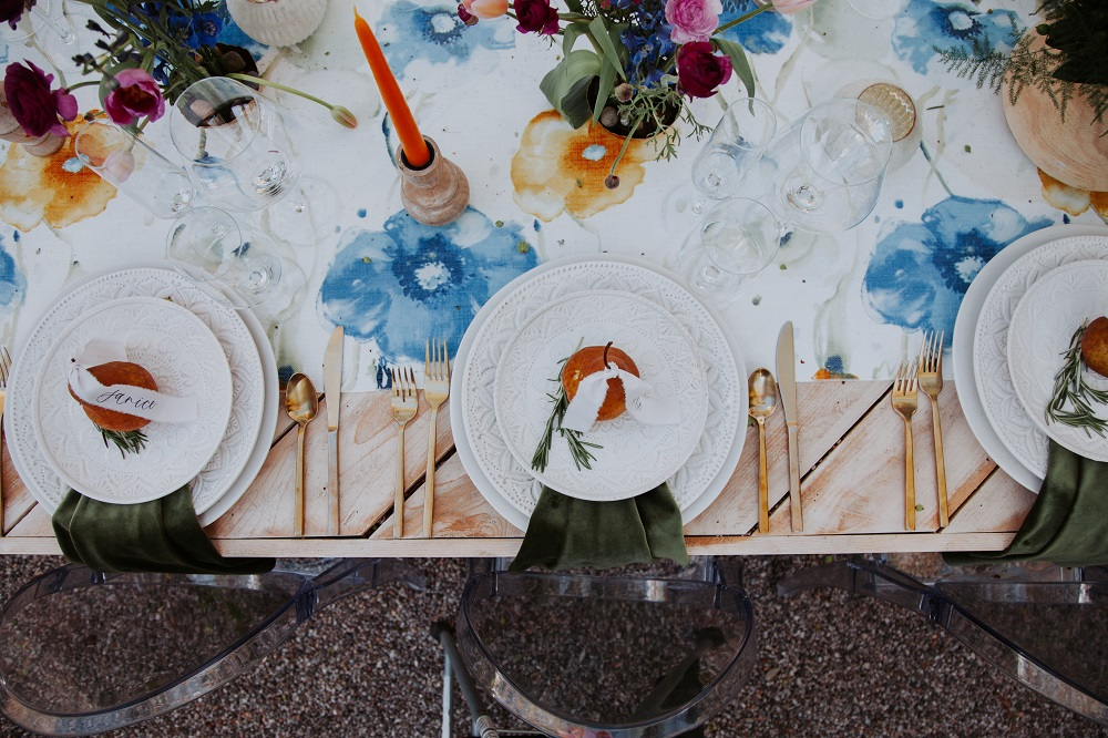 Van Gogh Table Linen, Blue Floral Table Cloth