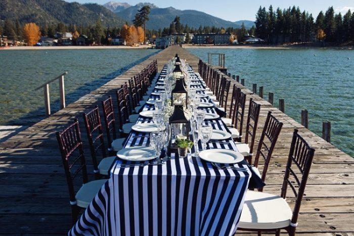 Navy Stripe Table Linen