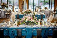 Ocean Plush Velvet Table Linen, Blue Velvet Table Cloth